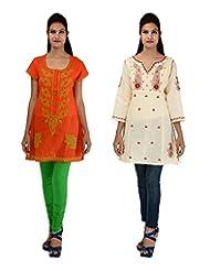 Anpassa Women's Poly Cotton Orange And Cream Kurti Combo Set