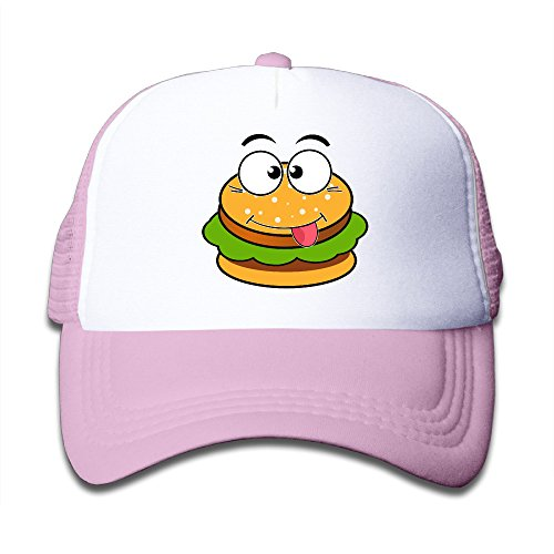 kid-cartoon-hamburger-adjustable-snapback-mesh-hats-pink-one-size