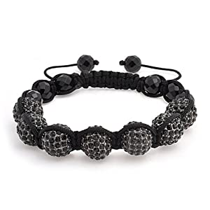 Bling Jewelry Black Crystal Shamballa Inspired Bracelet Black Faceted Onyx 12mm