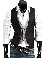 Izacu Mens Top Designed Casual Slim Fit Skinny Dress Vest Waistcoat Gilet