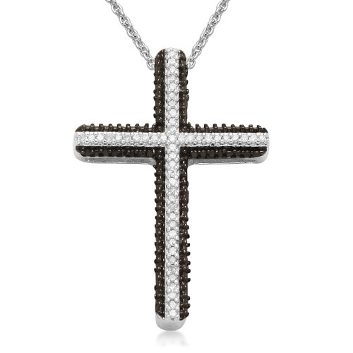 Sterling Silver Black and White Diamond Cross Pendant Necklace (1/6 cttw, I-J Color, I3), 18
