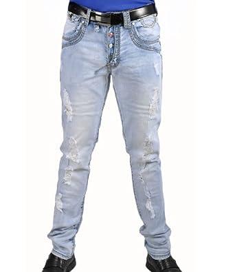 herren jeans hose stonewashed used mit rissen und knopfleiste. Black Bedroom Furniture Sets. Home Design Ideas