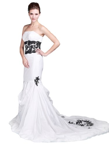 Topwedding Strapless Mermaid Taffeta Wedding Dress with Court Train