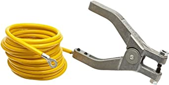 Justrite 08497 10' Long Insulated Grounding Wire With Hand Clamp And 1/4'' Terminal