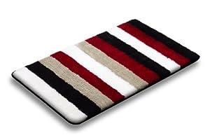 red black white stripe bathroom bath mat rug non slip skid