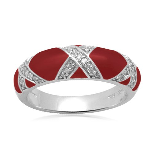 "Sterling Silver Enamel ""X"" Diamond Ring (1/6 cttw, I-J Color, I2-I3 Clarity), Size 6"