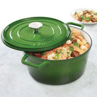 Crock-Pot Elmington Cast Iron Dutch Oven, 5 quart, Gradient Green (Small Green Dutch Oven compare prices)