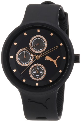 PUMA Women's PU910412004 Slick Multifunction Black Rosegold Accented Watch