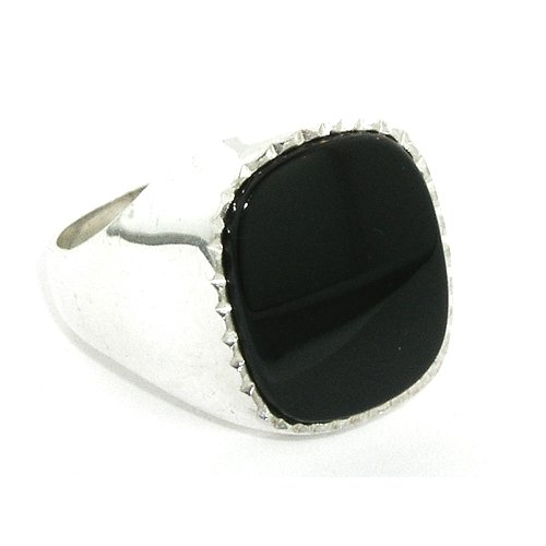 Sterling Silver Mens Large Cushion Shape Onyx Ring - Size P - Free Delivery - Other Finger Sizes Available