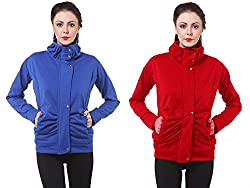 PURYS Royal Blue & Red Fleece Buttoned Sweatshirts Combo of 2