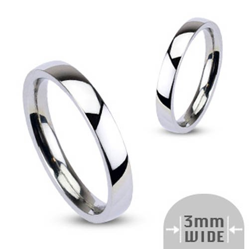 316L Stainless Steel 3mm Wide Glossy Mirror Polished Stackable Traditional Wedding Band Ring - Size 5