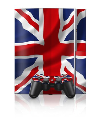 Union Jack Design Protector Skin Decal Sticker for PS3 Playstation 3 Body Console 10pcs lot vinyl for star wars ps4 sticker for sony playstation 4 console 2 controller skin sticker for ps4 skin free shipping