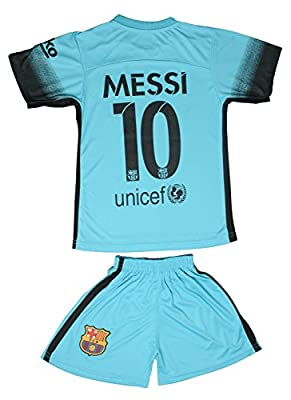 2015/2016 Barcelona Turquoise Blue Messi #10 Kids Soccer Jersey & Short