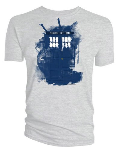 Doctor Who Modern Art Tardis T-shirt (Small, White)