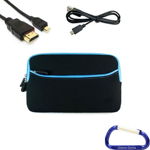 Gizmo Dorks Soft Neoprene Zipper Case (Black with Blue Trim), Mini USB, and Micro HDMI Cable with Carabiner Key Chain for the Pandigital Nova 7 inch Tablet eReader at Electronic-Readers.com