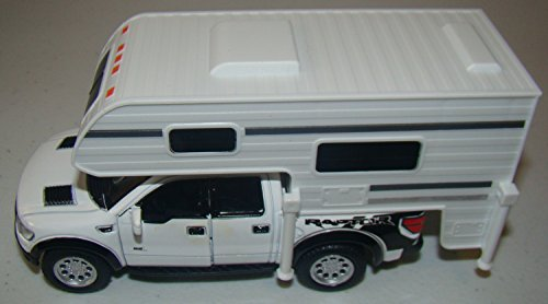 White 6-inch 2013 Ford F-150 SVT Raptor SuperCrew Camper 1/46 Scale with Pullback Action