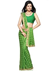 Utsav Fashion Women's Green Faux Chiffon Saree with Blouse