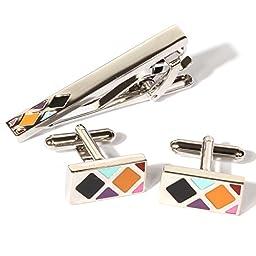 Digabi Plated Platinum Rectangular Oil Drip Cufflinks and Tie Clip Set with Nice Box (White)