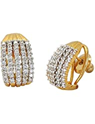 Awww Gold & Silver Gold Plated Stud Earrings Jewellery For Women And Girl