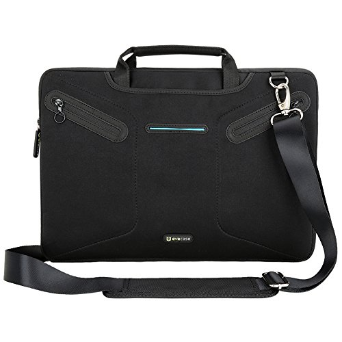 Evecase 15 - 15.6 inch Laptop Neoprene Messenger Case with Handle and Carrying Strap (Black)
