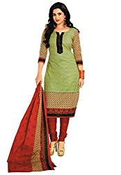 Divyaemporio Women'S Faux Crepe Green And Red Salwar Suits Dress Material