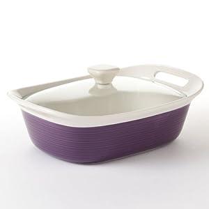 Corningware Etch Eggplant 2-1/2-qt Rectangular Casserole w/ Glass Lid