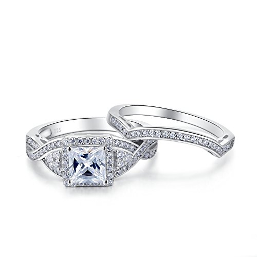 Sterling Silver 2 Pieces Princess Cut Cubic Zirconia Cross Shank Bridal Engagement Wedding Halo Ring Set