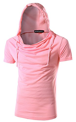 What Lees Mens Casual Short Sleeve Slim Pullover Hooded Sport Shirts B025-pink-XL (Caps Louis Vuitton compare prices)
