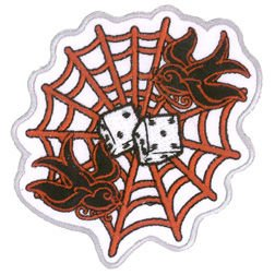 Aftermath - Spiderweb with Swallows and Dice - Embroidered Patch