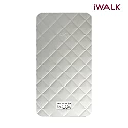 iWalk Portable Ultra Slim power Bank With Lighting Cable And Micro USB Cable For iPhone and Smartphones- 10000 mAh - Silver(UBO10000-011A)
