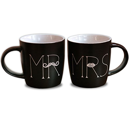 Mr and Mrs Coffee Mugs Set of 2 Ceramic Matte Black Perfect Gift for Wedding, Engagement, Bridal Shower or Anniversary (Mr And Mrs Coffee Mugs compare prices)