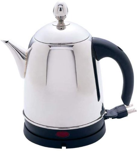 Precise Heat 1.3Qt S/S/S Electric Water Kettle *** Product Description: Precise Heat 1.3Qt Surgical Stainless Steel Electric Water Kettle. Features Mirror Finish, Phenolic Handle, Concealed Heating Element, Removable Base With Power Cord Storage, ***