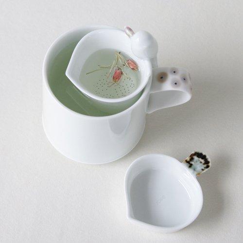 White Porcelain Bird Design Ceramic Pottery Personal Tea Leaf Brewing Infuser Filter Strainer Cup Mug Teacup Saucer Gift Set