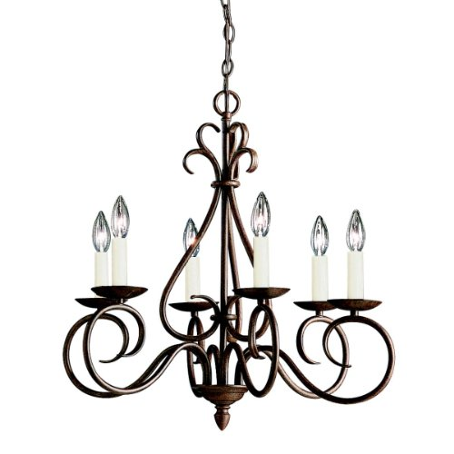 B000JTZ6OM Kichler Lighting 1713TZ Norwich 6-Light Chandelier, Tannery Bronze