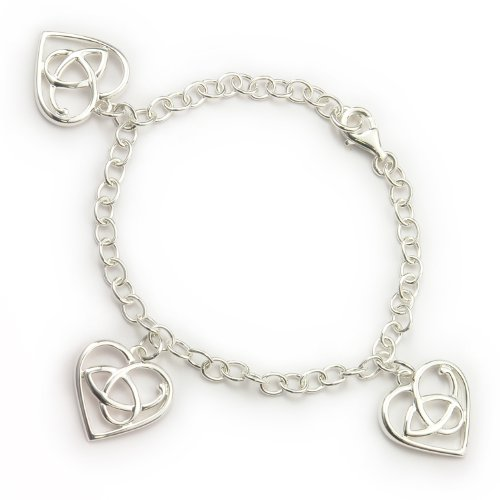 Ortak Silver Burns Collection BL425 Bracelet with Three Heart Charms