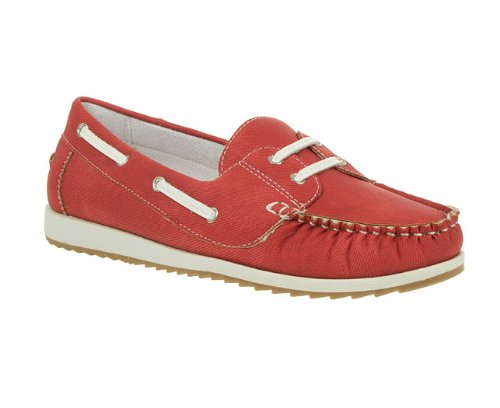 Lunar Womens Ladies Red Contrast Stitch Casual Boat Shoes