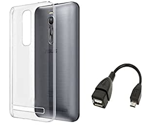 Tidel Silicon TPU Transparent Soft Back Cover For Asus ZenFone 2 With Micro OTG Cable