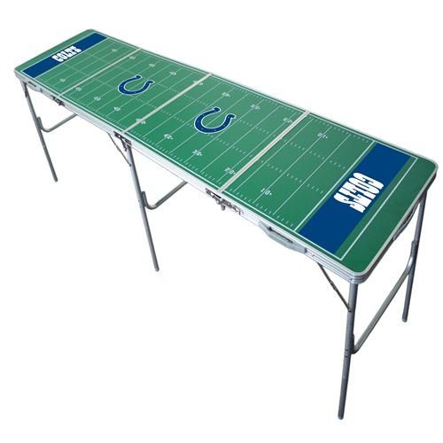 Indianapolis Colts Tailgate Table, Licensed NFL Team Table, 2x8, 8ft, Aluminum, All Weather, Durable, Lightweight, Portable