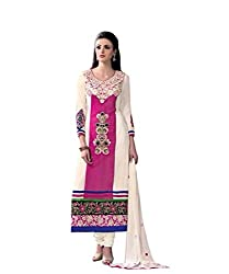 FadAttire Unstitched Georgette Salwar material with Georgette Top, crepe silk inner, bottom and dupatta.-Pink-FAAN01