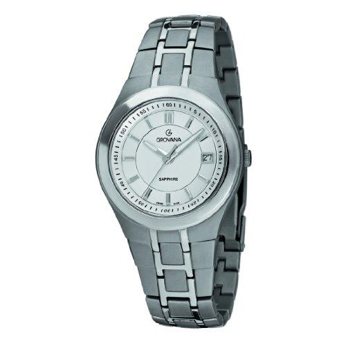 Grovana 1535,1192 - Reloj analógico de cuarzo para hombre, correa de titanio color plateado