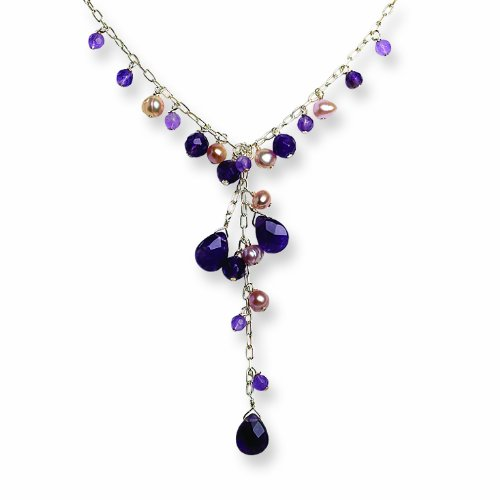 Sterling Silver Amethyst/Pink Cultured Pearl Dangle Necklace
