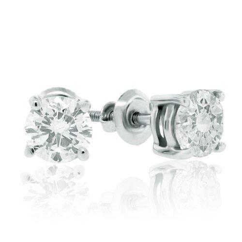 Igi Certified 'Gorgeous' 1/2 Carat Tw Round Diamond Stud Earrings 'Screwbacks' 14Kt White Gold-W