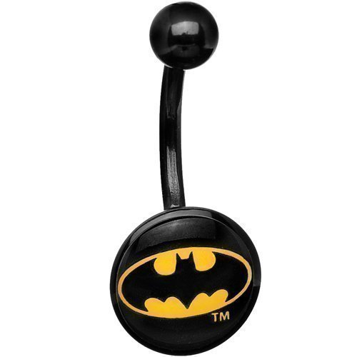 Piercing ombelico in acrilico nero con logo Batman