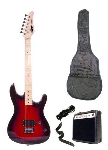 39 Inch Red Electric Guitar And Amp Pack & Carrying Case & Accessories, (Guitar, 10 Watt Amplifier, Whammy Bar, Strap, Cable, Strings, & Directlycheap(Tm) Translucent Blue Medium Guitar Pick)