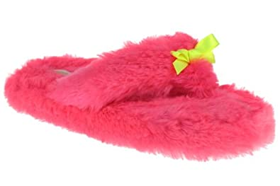 Capelli New York Neon Faux Fur Thong With Contrasting Satin Bow Ladies Indoor Slippers Pink Large