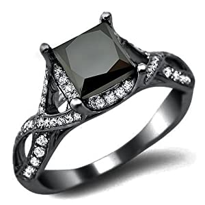 2.30ct Black Princess Cut Diamond Engagement Ring 18k Black Gold Rhodium Plating Over White Gold