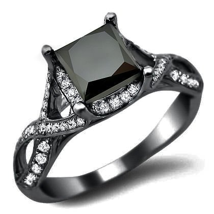 2.40ct Black Princess Cut Diamond Engagement