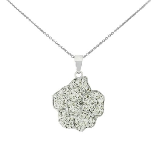 Stainless Steel Silver Tone Flower Pendant with Crystal Clear Cubic Zirconia & Chain