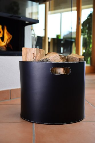 skh-lakschmi Holzkorb, Korb für Kaminholz, Leder, schwarz