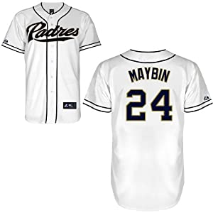 MLB San Diego Padres Cameron Maybin 24 Replica Jersey, White by Majestic
